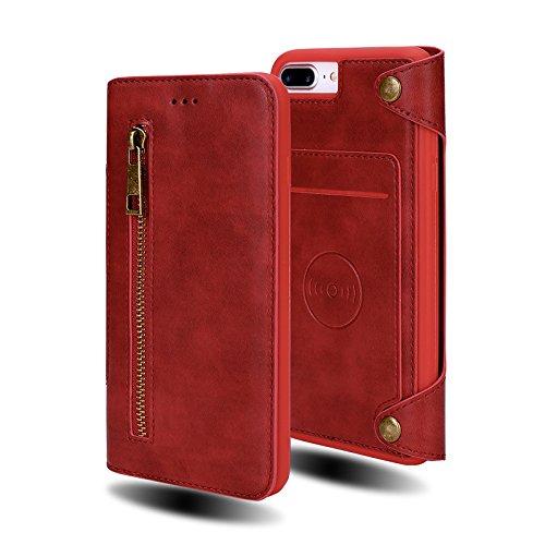 WecanLight iPhone 7 Plus Case, iPhone 8 Plus Case, Wallet Case Folio Flip PU Leather Case Magnetic Detachable Slim Back Cover Hard Case Card Credit Card Holder Slot (Red for iphone7plus/iphone8 Plus)