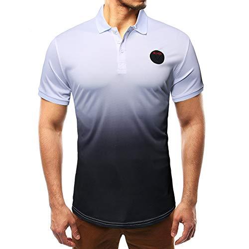 XJWDTX Sommer Dünne Talsohle Hemd Herrenmode Farbverlauf Kontrast Krawatte Krawatte Gefärbt Kurzarm Polo-Shirt T-Shirt -
