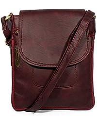 VALGA Maroon Premium Quality Faux Leather Cross Sling Bag For Women/Girls