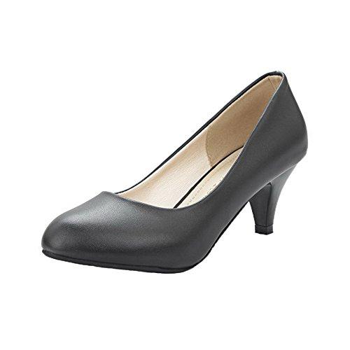 AgeeMi Shoes Damen Ziehen auf PU Kitten-Heels Pumps Schuhe,EuD60 Schwarz 39