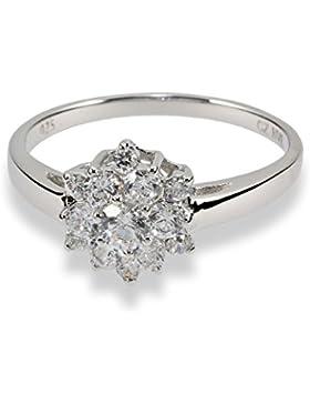 Renato Fellini Damen-Ring Blüte 925 Sterlingsilber 13 Zirkonia weiß 10 mm 1874