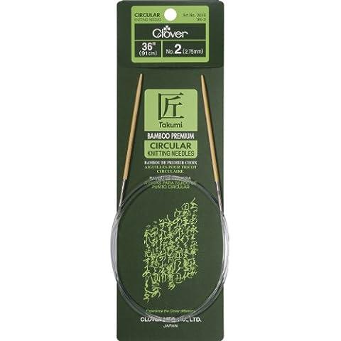 100% poliestere Clover Takumi-Ferro circolare da maglia, in bambù, 36 cm, taglia 2/2,75 mm