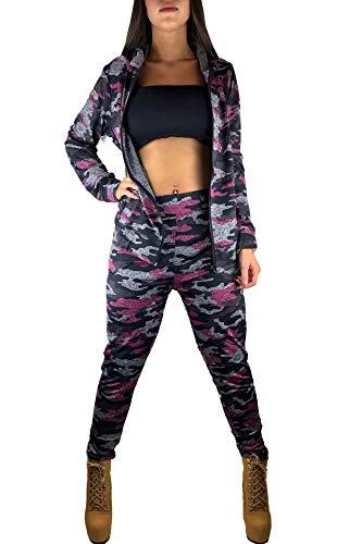 Worldclassca Damen Camouflage Jogginganzug Jogging Army Trainingsanzug MILITÄR TARN Jogging Fitness Yoga Sportanzug Jacke MIT Hose Set Langarm Hoodie Blogger S-3XL (S/M 36-38, Rosa-Camouflage)