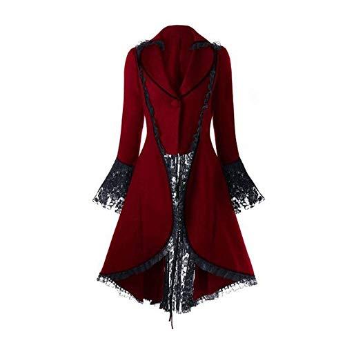 Riou Weihnachten Mäntel Herren Frack Jacke Retro Gothic Gehrock Uniform Kostüm Steampunk Party Hochzeit Abendkleid Cos Revers Dovetail Oberbekleidung (3XL, Rot ()