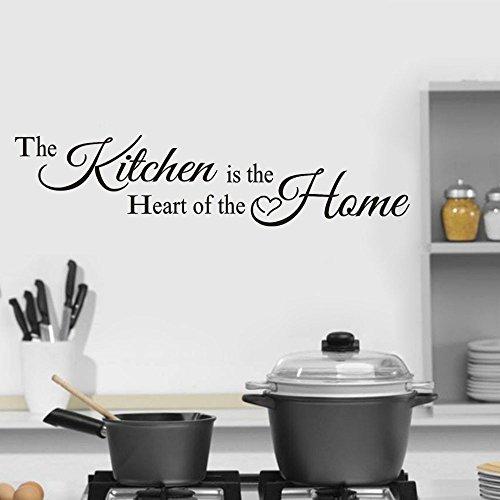 """Zhen + """"The Kitchen is The Heart """" Nayword Wandaufkleber, Hauptdekor Kunst Kleben Wandtattoo Wandaufkleber Sticker Wanddeko, Ideal für Die Küche Esszimmer und Wohnzimmer (Schwarz)"""