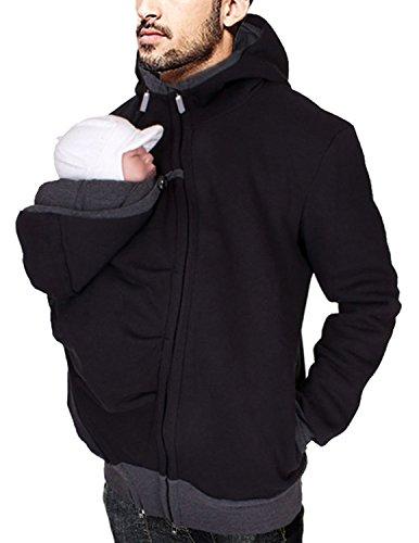 Amazon Boom Fashion Super Daddy Canguro Chaqueta portabebés Sudadera con Capucha Casual Abrigo Negro L