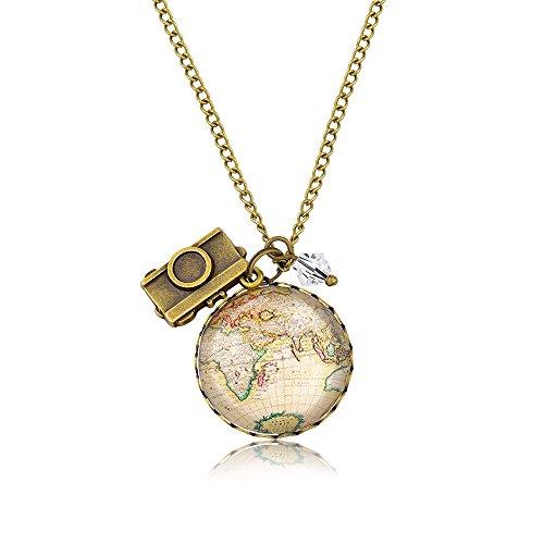 MadamLili Globetrotter Damen Kette Weltkartenkette mit Kamera - Handgemacht