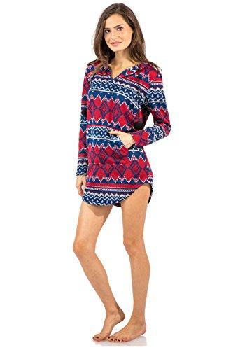 b73a321991 Ashford   Brooks Women s Sweater Fleece Zip Up Hooded Sleep Lounge Shirt -  Burgundy Navy -