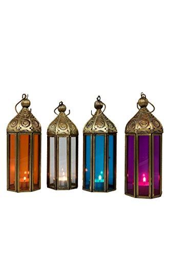 Orientalische Laternen 4 Set Laterne Jayanti bunt 19cm|4x Orientalisches Windlicht aus Metall & Glas in 4 Farben | Marokkanische Glaslaterne für draußen als Gartenlaterne, Innen als Tischlaterne