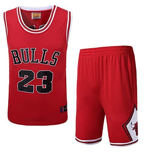 Wo nice NBA Bulls #23 Michael Jordan Basketball-Uniformen atmungsaktive schnell trockene Fans Sportbekleidung Sport-Trikots Sportshorts,Red,L175cm65~75kg - Kinder Jordan Air Für Kleidung