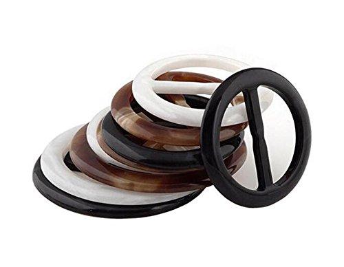 erioctry 6pcs 3cm Mehrfarbig stufenlos Kunststoff rund Kreis Schal Ring Schals Schnalle Seide Verschluss Clips Kleidung Ring Wrap Halter für Seide Halstuch Kleidung T-Shirt Farbe ramdom -