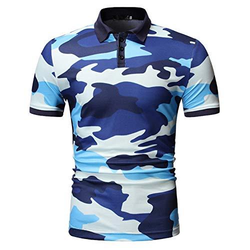 XJWDTX Sommer Männer Casual Camouflage Slim Trend Dünnschliff Revers Polo-Shirt
