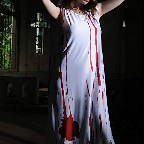 Kind Kostüm Mitternacht Braut - WANLN Gespenstische Krankenschwester-Geist-Dame Blutige Halloween-Geister Stammes- gespenstische Braut-Lattich-Geist-Festival,Braun