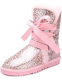 SWEAAY Boots Scarponi da Neve da Donna Tubo Alto Leopardo più Velluto Eco-Pelliccia  più a465ccf7cd3