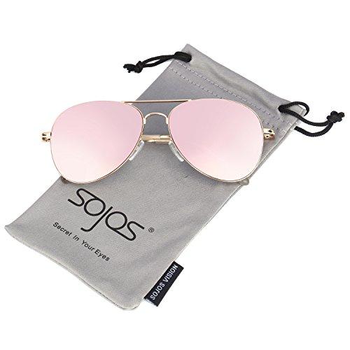 Preisvergleich Produktbild SojoS Mode Flieger Metallrahmen Verspiegelt Linse Unisex Piloten Sonnenbrille mit Frühlings Scharnieren SJ1030 mit Gold Rahmen / Rosa Linse