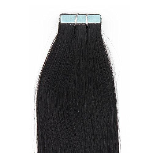 Beauty7 20 X 2.5g Remy Extensions à Bandes Adhésives de Cheveux / Tape Extensions Naturel #1 Noir RAIDES Longeur 56 cm