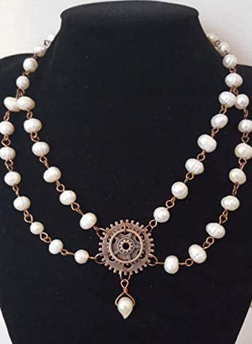 Cameo Pendant Steampunk Vintage Chains Victorian Pearls Antiqued Jewelry