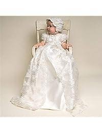 Vestido de Fiesta de los niños Princesa Fiesta Bebés y niños de 100 años de Edad Bautismo Vestido de un Solo niño pequeño Encaje Largo Ropa de Dos Piezas para niños (tamaño : 9M)