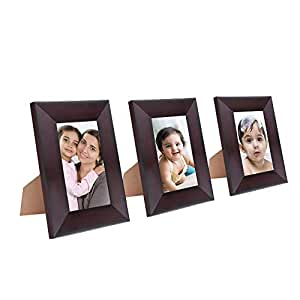 Amazon Brand - Solimo Collage Photo Frames, Set of 3, Tabletop (3 pcs - 5x7 inch), Rosewood Color