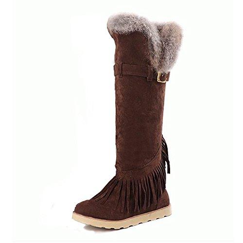 Nonbrand Damen Keilabsatz synthetischer Kniehohe Stiefel Braun