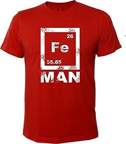 Mister Merchandise Witziges Herren Männer T-Shirt FE Man Iron Ironman Chemie Periodentafel Nerd , Größe: XXL, Farbe: