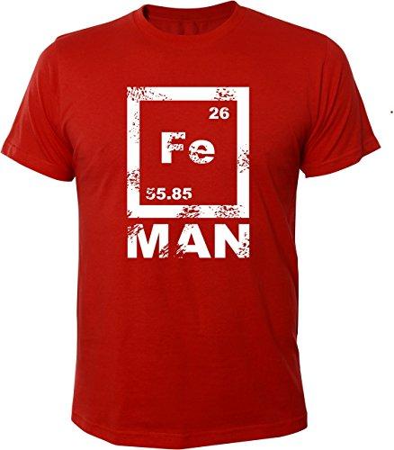 Mister Merchandise Cooles Herren T-Shirt FE Man Iron Ironman Chemie Periodentafel Nerd Rot