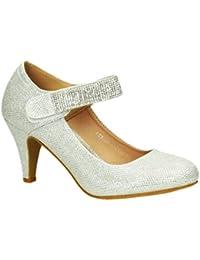 c3eafae63d49aa King Of Shoes Klassische Glitzer Damen Mary Jane Riemchen Pumps Stilettos  Abend High Heels Plateau…