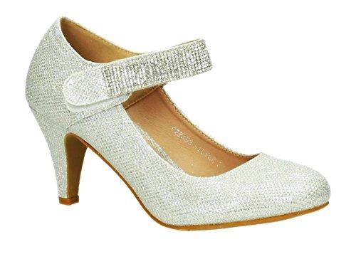 Klassische Glitzer Damen Mary Jane Riemchen Pumps Stilettos Abend High Heels Plateau Schuhe 353 (38, Silber)