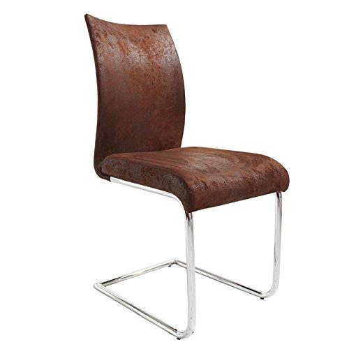 Riess Ambiente Design Freischwinger Stuhl SUAVE Antik Look braun Esszimmerstuhl Besucherstuhl