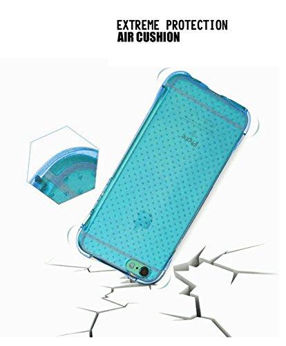 iPhone Schutzhülle, stoßfest, Heavy Duty kratzfest Air Cushion Technology Ecken Soft Slim Transparent TPU Case für Apple iPhone 6/6S und 6Plus (viele Farbe)–von ezzymob Blau - himmelblau