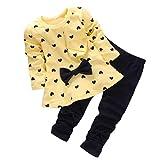 LuckyGirl Fille Enfant Ensemble en 2 PCS T-Shirt Longues Manches + Pantalons Blouse Tee Blouse Motif Cœur Noeud Papillon -Mélange Coton- 0~24 Mois (Âge: 12~18 Mois, Jaune)...