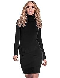 Glamour Empire. Para mujer. Vestido de punto bolsillo delantero cuello alto. 178
