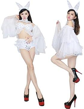 Nihiug Sexy Dress Sexy Ragazza Servizio Role Play Nightclub Suit Bianco Coniglio Costume Di Halloween Classico...