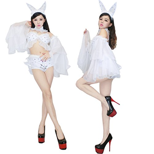 nihiug Sexy Dress Sexy Rabbit Girl Service Role Play Nightclub Suit White Rabbit Halloween Costume Classic Interesting Miss Stage Makeup,A-L