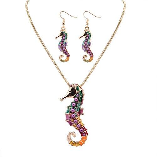 Topsaire Hippocampus-Collier-Set Geschenk für die Frau/Freundin(glod)