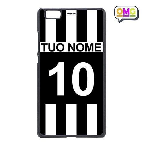 Cover per Huawei P8 Lite Maglia Calcio Tifosi Bianco Neri Personalizzata con Nome e Numero Bianconero - Custodia Regalo Personalizzato Scheda