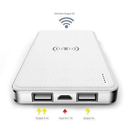 Np Bk 1 Batterie (Heliomax 10000mAh Externer Akku powerbank mit Kabellos ladegerät drahtlos 2.1A für Galaxy Note 8 S7 S7 edge S8 S8 plus iPhone 8 iPhone 8 plus iPhone X Nexus 4 5 6 7 Nokin 935 1520 Huawei)