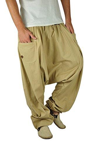 Virblatt bonzaai pantaloni harem donna pantaloni cavallo basso pantaloni harem uomo vestiti alternativi - unüberlegt extra large beige