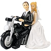 Cake Topper para boda Tinksky elegante novia y el novio Cake Topper estatuilla decoración de la boda regalo de la estatuilla (moto)