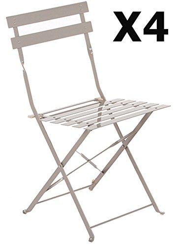 PEGANE Lot de 4 chaises Pliantes en Acier Coloris Taupe - Dim: 42 x 46 x 80 cm