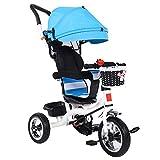 Kinderwagen mit Sonnendach,Baby Dreirad 4 in 1 Kinderdreirad Dreirad für Kinder Tricycle mit Abnehmbarer Sonnendach&Schubstange Dreiräder ab 1 Jahre bis 6 Jahre(Blau)