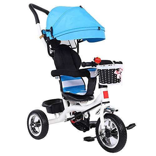 Cocoarm Dreirad für Kinder Kinder Fahrrad mit Verstellbarem Schubstange Klappbar Sonnendach Kinderwagen Kinderdreirad ab 6 Monate bis 6 Jahre (Blau)