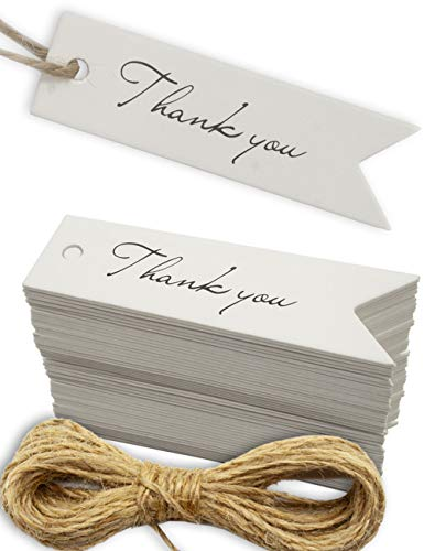 Kraftpapier, Karton, Geschenk-Anhänger, Papier-Anhänger, Tags, Label   7 x 2 cm, mit 10m Jute-Schnur, zum Geschenk verpacken  