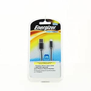 Energizer LCHEHC2UL5 Chargeur allume-cigare 2 USB 2A + Câble Lightning Noir