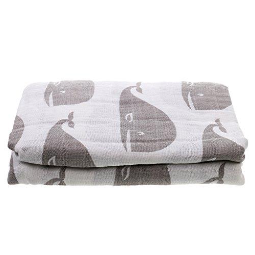 Preisvergleich Produktbild Baby Mädche Decke Zwei-Schichten Swaddle Wrap Bestes Geschenk für werdende Eltern - Gray Whale Pattern