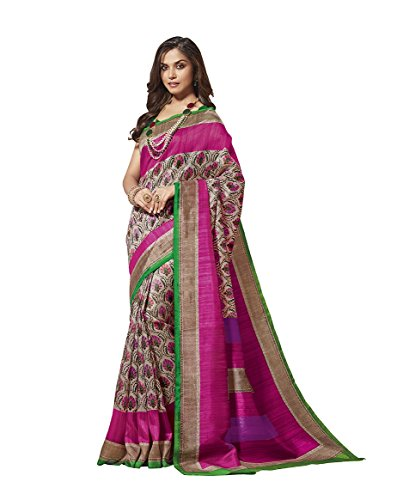 EthnicJunction Women's Cotton Silk Saree With Blouse (EJ1131-3030_Multicolored)