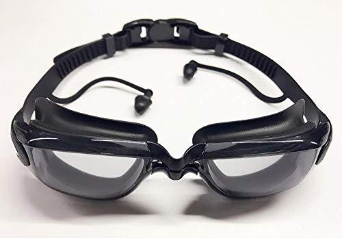 Wasserdichter, beschlagfreier, UV-beständiger, großer Rahmen mit Ohrenstöpsel-Brille - schwarz -
