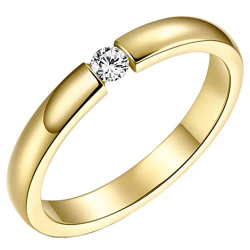 Aienid Schmuck Damen Ring Edelstahl Zirkonia Klassisch Gold Engagement Ringe 3mm Größe 54 (17.2) (Brighton Schmuck-box)