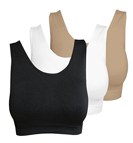 m&b Sport Top Fitness BH mit Polstern, 3er Pack, Größe LXL, Farbe je 1x weiß, schwarz, beige (Gap-schwarz-bhs)