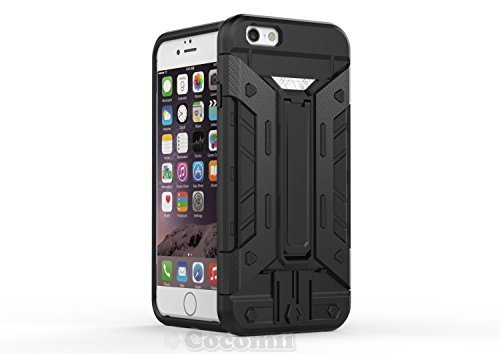 iPhone 6S Plus / 6 Plus Coque, Cocomii Cyborg Armor NEW [Heavy Duty] Premium Built-in Multi Card Holder Kickstand Shockproof Hard Bumper Shell [Military Defender] Full Body Dual Layer Rugged Cover Case Étui Housse Apple (Black)